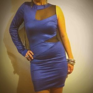 bebe Dresses - NWT - Bebe x Kardashian One Shoulder Mesh Dress M